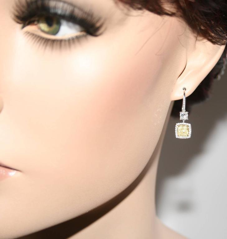 Gia Certified 2 23 Carat Y Z Princess Cut Diamond Dangle Earrings