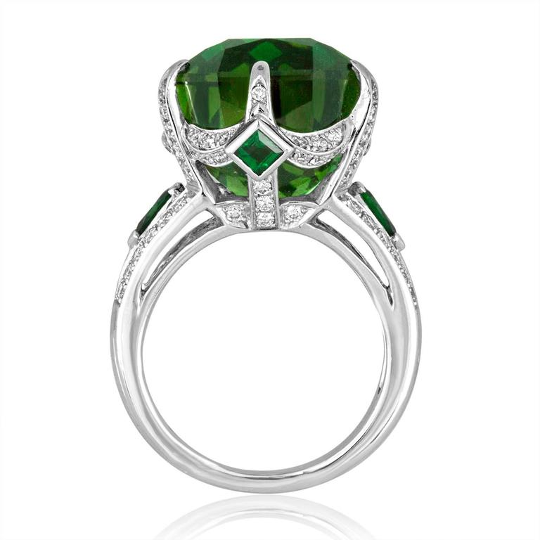 One-Of-A-Kind Ring The ring is 18K White Gold The center stone is a 19.00 Carat Tourmaline Accented by 0.60 Carats of Tsavorite Surrounded by 0.92 Carats in Diamonds G/H SI. The ring is a size 6.25, sizable. The ring weighs 11.3 grams The ring comes