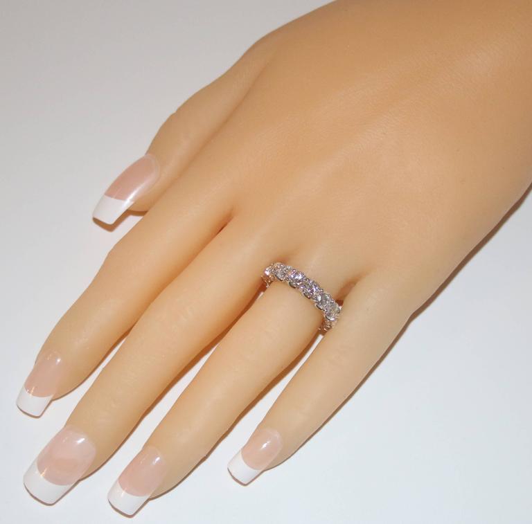 4.25 Carats Round Cut Diamond Platinum Eternity Band Ring 2