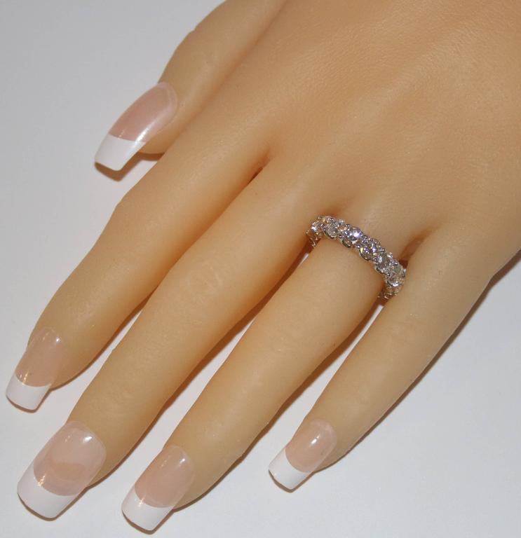 4.25 Carats Round Cut Diamond Platinum Eternity Band Ring 3