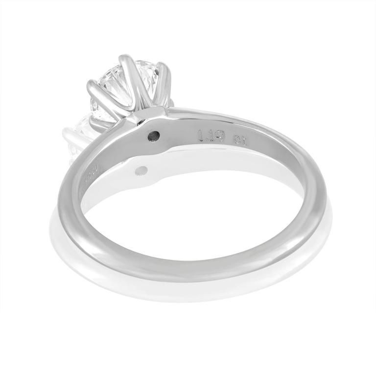 Round Cut Tiffany & Co. GIA Certified 1.19 Carat F VS1 Diamond Platinum Ring For Sale