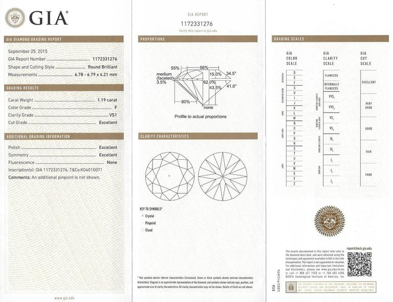 Tiffany & Co. GIA Certified 1.19 Carat F VS1 Diamond Platinum Ring For Sale 1