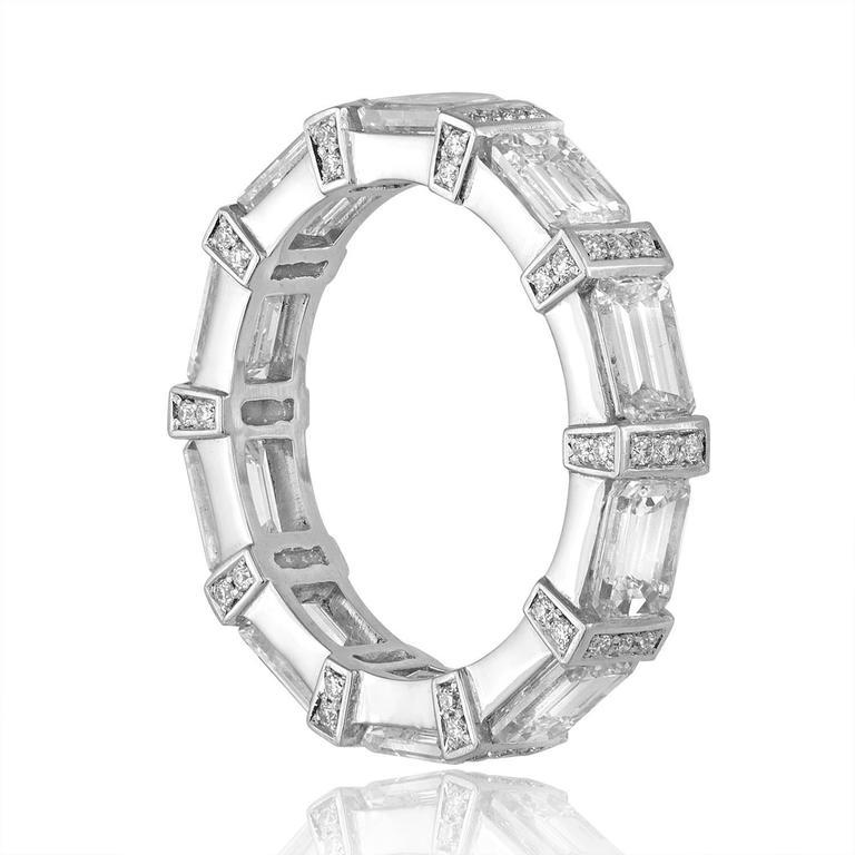 4.39 Carats Emerald Cut Eternity Diamond Platinum Band Ring 2