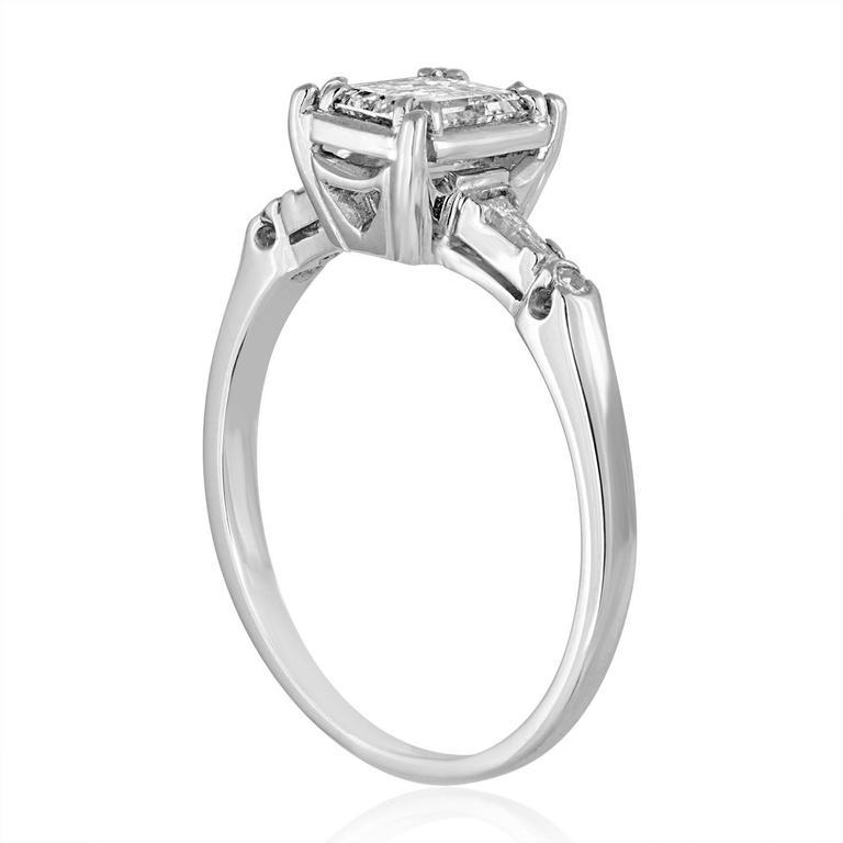 IGI Certified 0.71 Carat Emerald Cut Diamond Platinum Gold Ring 2