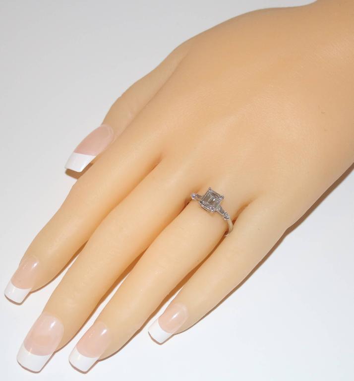 IGI Certified 0.71 Carat Emerald Cut Diamond Platinum Gold Ring 3