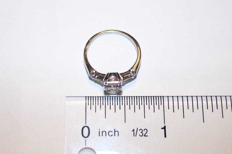 IGI Certified 0.71 Carat Emerald Cut Diamond Platinum Gold Ring 4