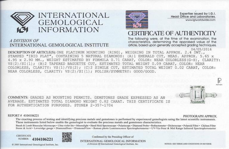 IGI Certified 0.71 Carat Emerald Cut Diamond Platinum Gold Ring 5