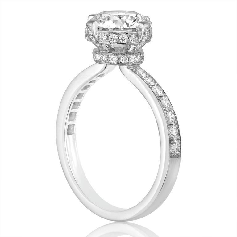 Hearts On Fire GIA 2.02 Carat G VVS2 Round Diamond Platinum Engagement Ring 2