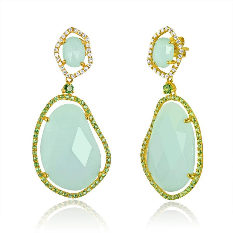 Amazonite Stones surrounded by Green Garnets and Diamonds  Set in 14K Yellow Gold 30.36Ct of Amazonite 1.11Ct of Green Garnet 0.34Ct of Diamonds G SI The earrings measure 1.75