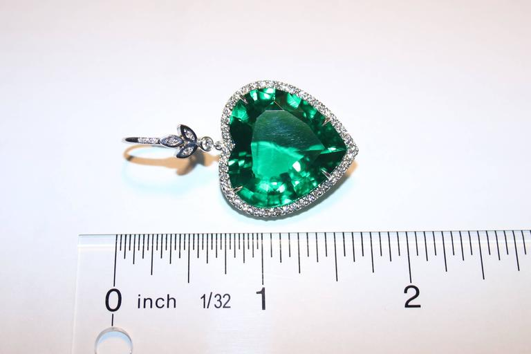 diamond full antique heart emerald victorian pendant shaped era item