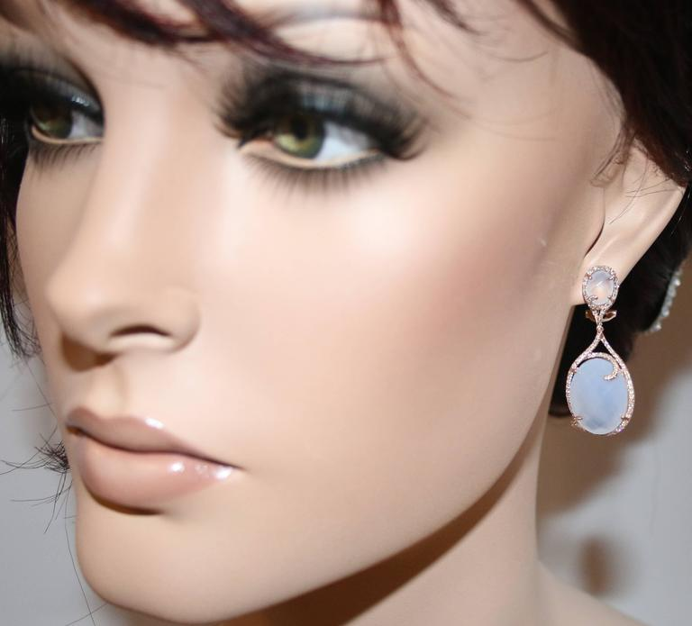 Beautiful Chalcedony & Diamond Earrings The earrings are 14K Rose Gold Chalcedony Stones 25.71Ct Diamonds 0.61Ct H SI The earrings measure 1.5