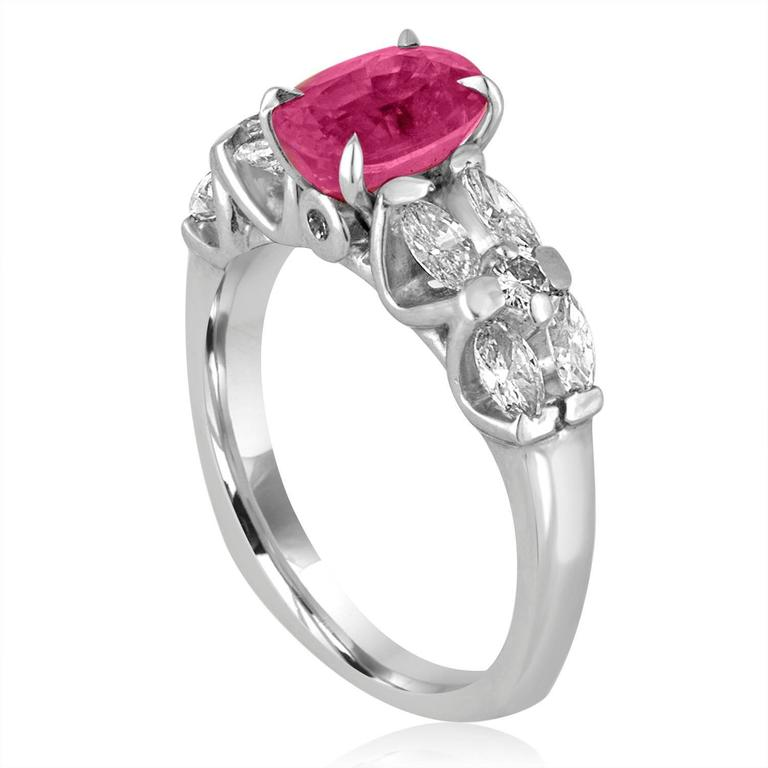 Certified 2.09 Carat Oval Pink Sapphire Diamond Platinum Ring 2