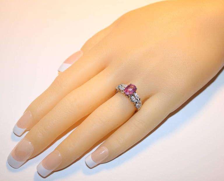 Certified 2.09 Carat Oval Pink Sapphire Diamond Platinum Ring 3