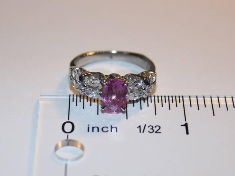 Certified 2.09 Carat Oval Pink Sapphire Diamond Platinum Ring 4