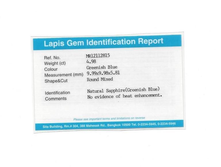 Certified No Heat 4.98 Carats Round Greenish Blue Sapphire Diamond Ring 5