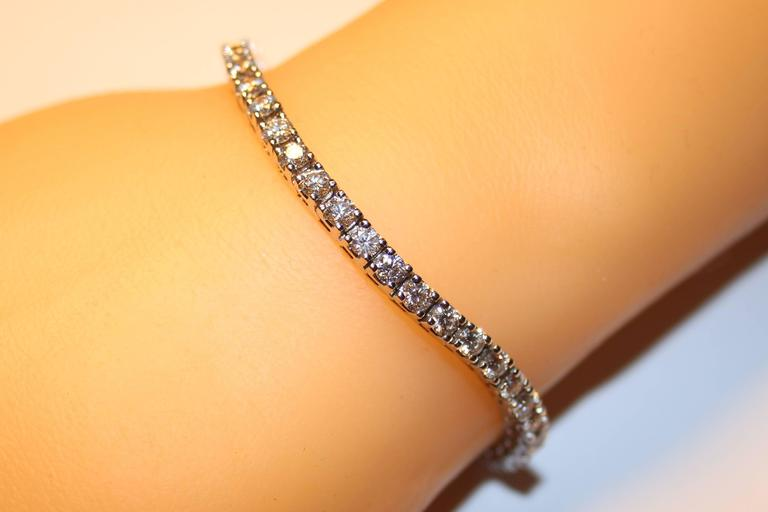 5 00 Carat Diamond 14k Gold Tennis Bracelet For Sale At