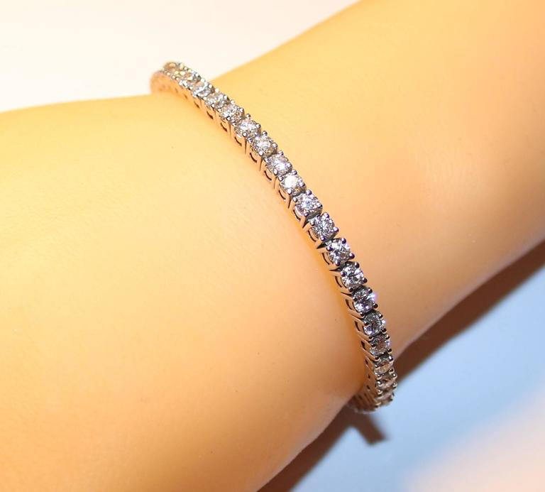 5 11 Carats Diamond 14k Gold Tennis Bracelet For Sale At