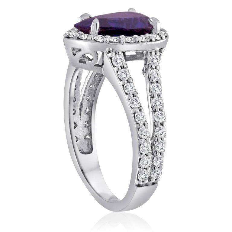 Certified 2.02 Carat Pear Blue Sapphire Diamond Halo Gold Ring 2