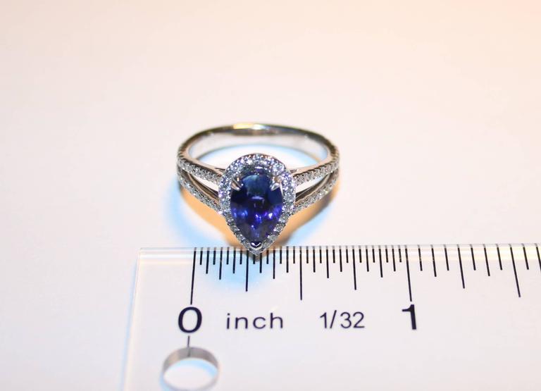 Certified 2.02 Carat Pear Blue Sapphire Diamond Halo Ring 4