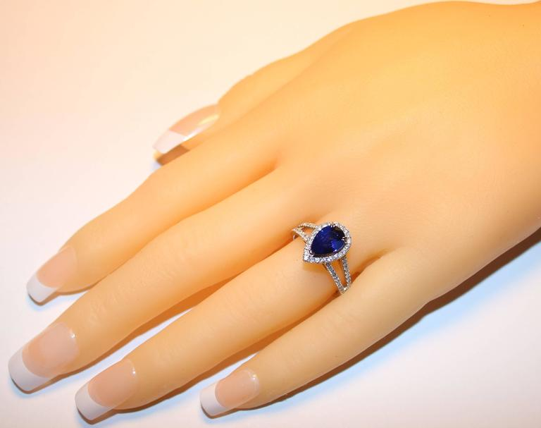 Certified 2.02 Carat Pear Blue Sapphire Diamond Halo Ring 3