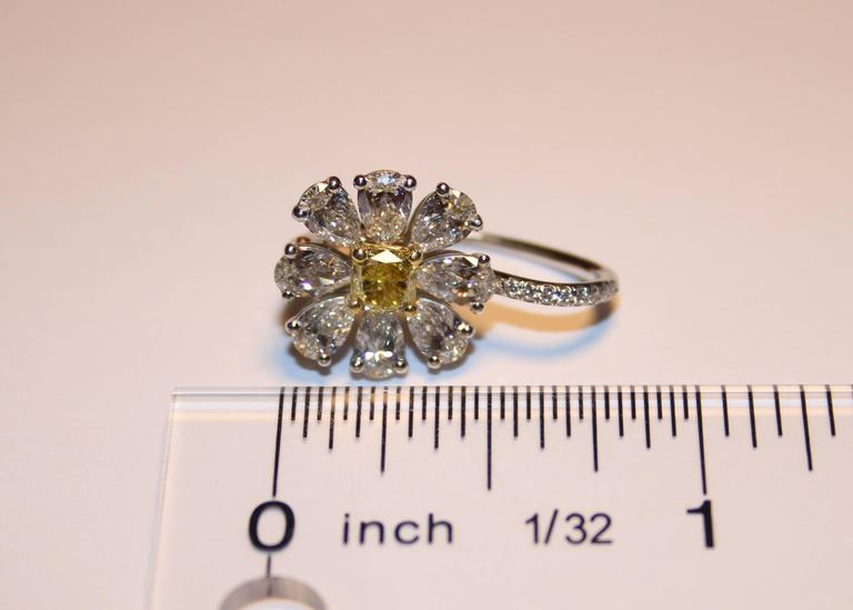 Radiant Cut 4.12 Carat Fancy Intense Yellow And White Diamonds Platinum Gold Daisy Earrings For Sale