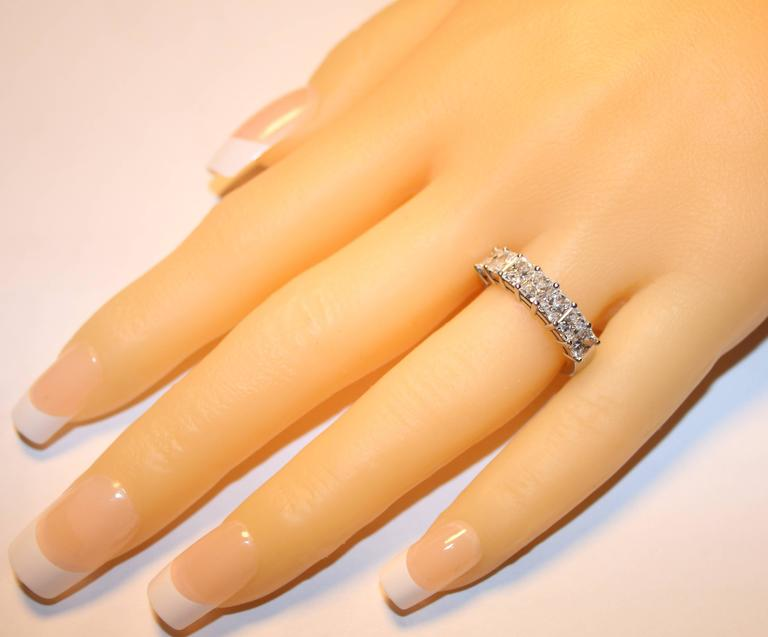 2.15 Carats Radiant Cut Diamond Platinum Half Band Ring In Excellent Condition For Sale In New York, NY