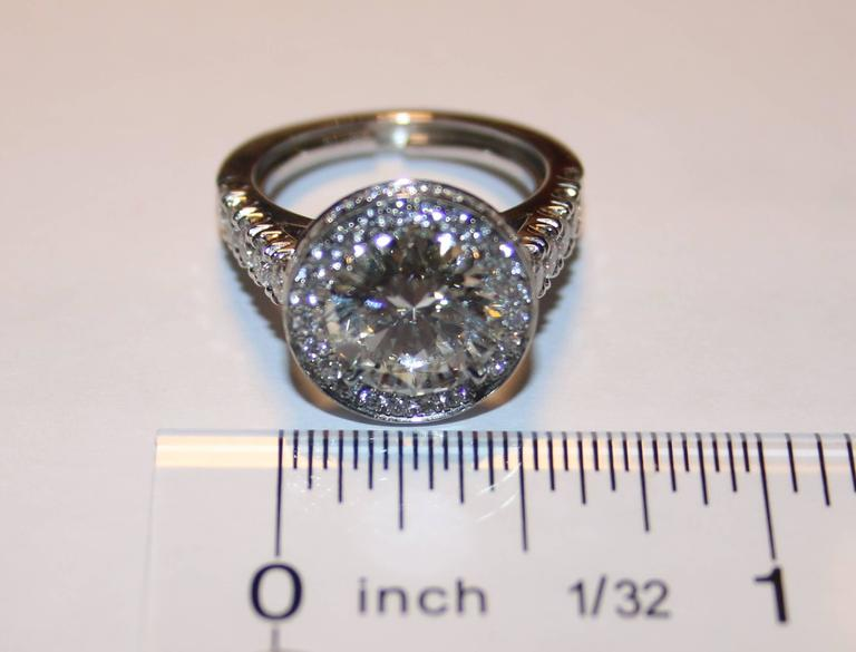 GIA Certified 3.01 Carat Diamond Platinum Ring 5