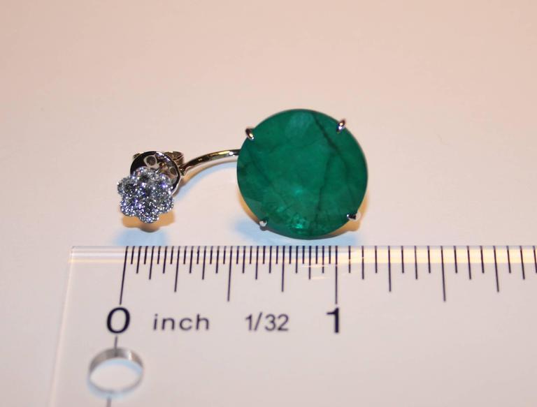 Contemporary Triplet Emerald MOP Rock Crystal Diamond Gold Dangle Earrings For Sale