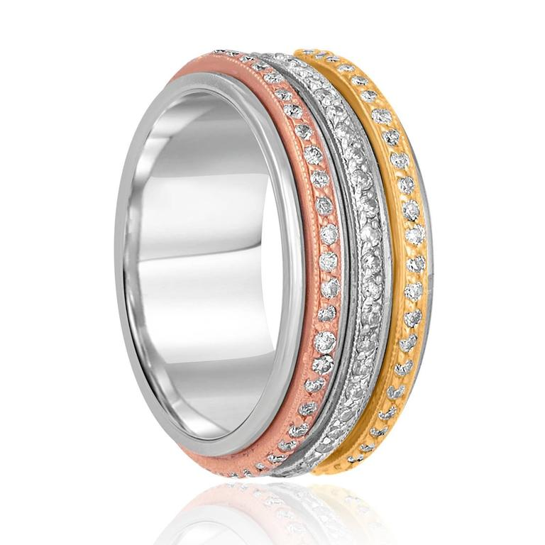 071 Carats Tricolor Spin Diamond Gold Wedding Band Ring 2