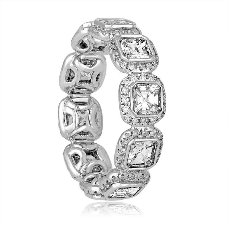 3.22 Carats Asscher Cut Eternity Diamond Platinum Band Ring 2