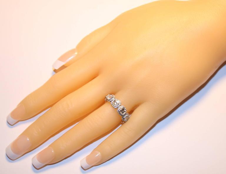 3.22 Carats Asscher Cut Eternity Diamond Platinum Band Ring 3