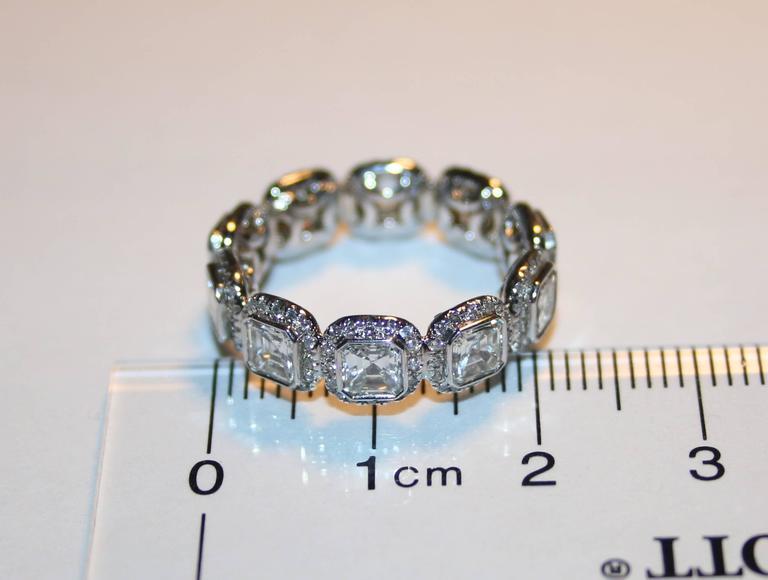3.22 Carats Asscher Cut Eternity Diamond Platinum Band Ring 4