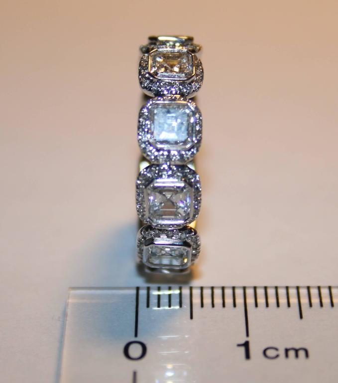 3.22 Carats Asscher Cut Eternity Diamond Platinum Band Ring 5