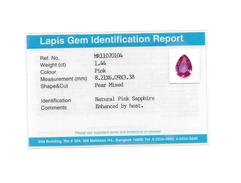 Certified 1.44 Carat Pink Sapphire And Diamond Gold Necklace 5