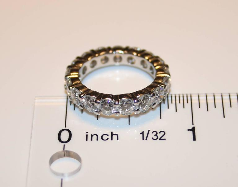 Round Cut 3.50 Carats Diamond Platinum Eternity Band Ring For Sale