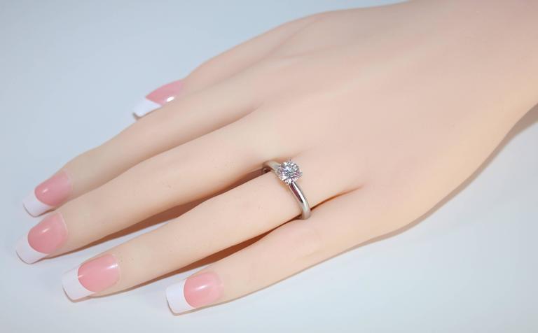 GIA Certified 1.03 Carat F VVS2 Round Diamond Platinum Engagement Ring 3