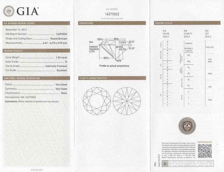GIA Certified 1.03 Carat D IF Round Diamond Platinum Engagement Ring 5