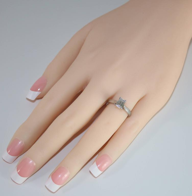 Contemporary GIA Certified 0.71 Carat D VVS1 Diamond Solitaire Platinum Engagement Ring For Sale