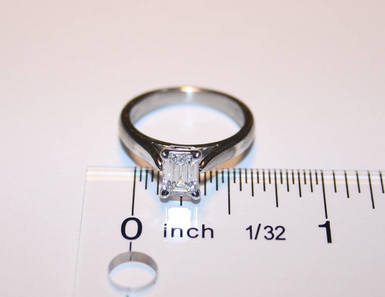 Emerald Cut GIA Certified 0.71 Carat D VVS1 Diamond Solitaire Platinum Engagement Ring For Sale