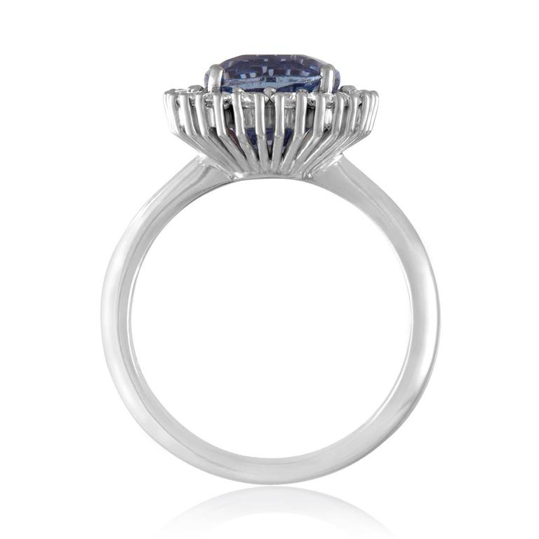 Contemporary AGL Certified 3.97 Carat No Heat Cushion Blue Violet Sapphire Diamond Gold Ring For Sale