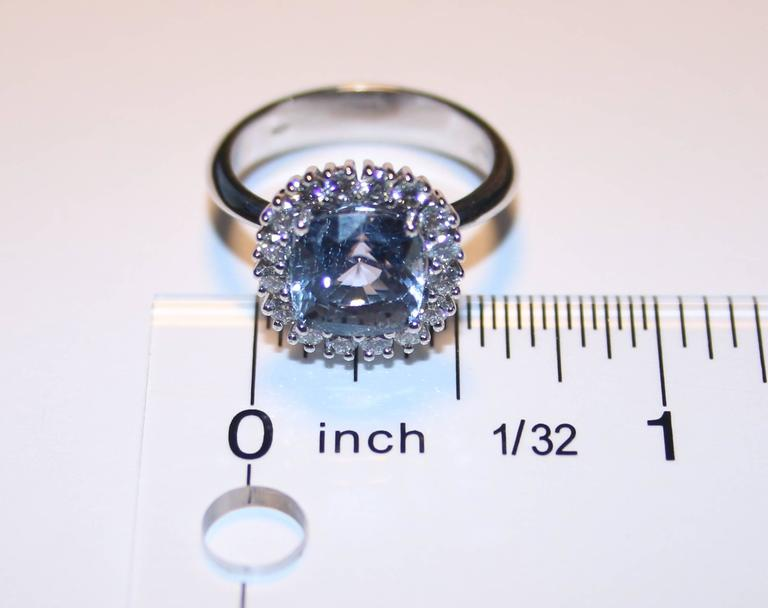 AGL Certified 3.97 Carat No Heat Cushion Blue Violet Sapphire Diamond Gold Ring In New Condition For Sale In New York, NY