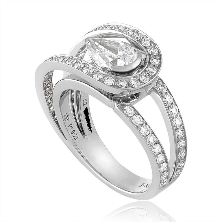 Fred of Paris GIA Certified 1.01 Carat E VVS1 Diamond Platinum Lovelight Ring 2