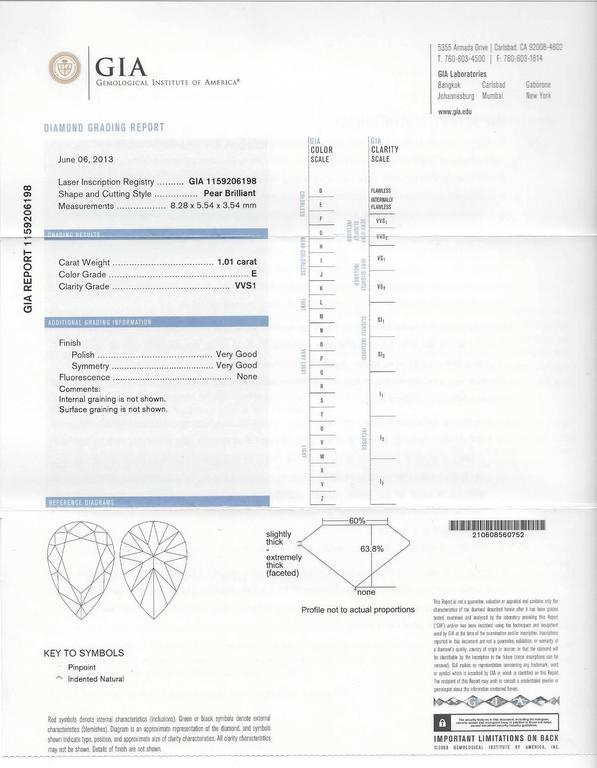 Fred of Paris GIA Certified 1.01 Carat E VVS1 Diamond Platinum Lovelight Ring 6