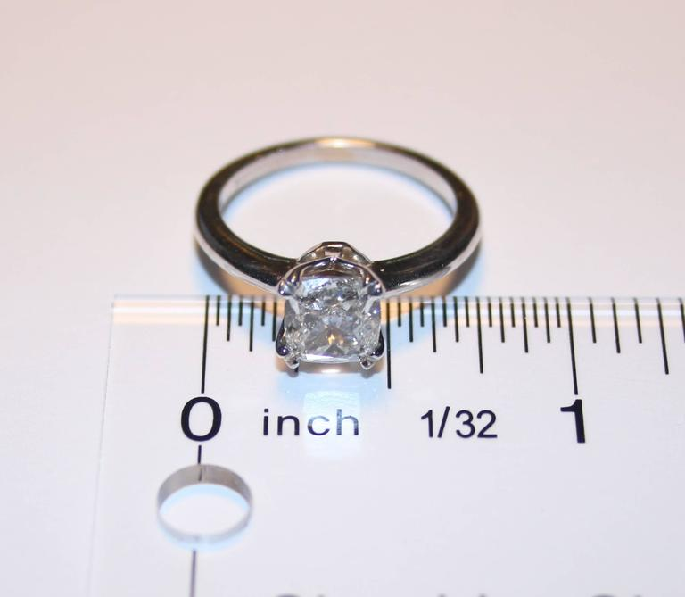 GIA Certified 1.70 Carat G VS1 Cushion Cut Diamond Solitaire Engagement Ring In As New Condition For Sale In New York, NY