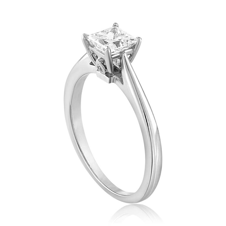 GIA Certified 0.73 Carat E VS2 Princess Cut Diamond Solitaire Engagement Ring 2