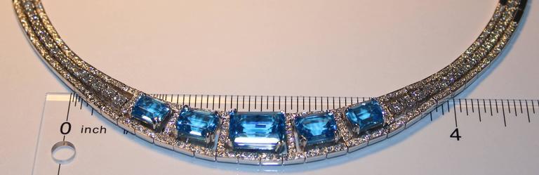 41.20 Carat Blue Topaz And Diamond Gold Necklace Earrings Bracelet Set 5