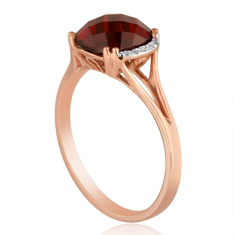 Garnet Stackable Ring Gold