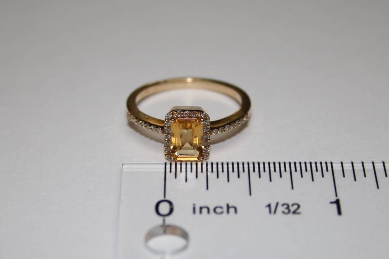 Emerald Cut 0.81 Carat Step Cut Citrine and Diamond Gold Ring For Sale