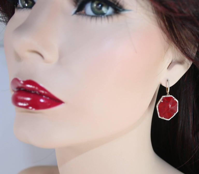 Modern Doublet 20.47 Carat Ruby Rock Crystal Diamond Gold Dangle Earrings For Sale