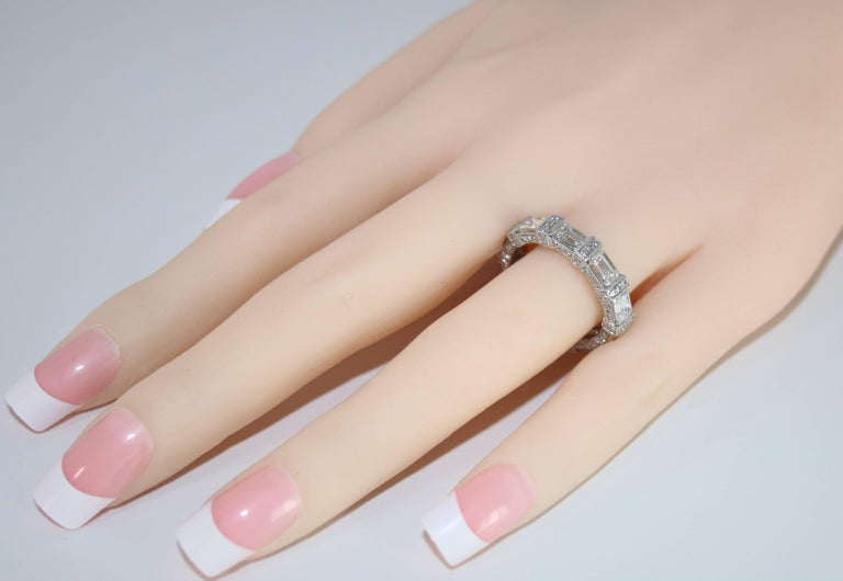 5.18 Carat Emerald Cut Eternity Diamond Platinum Band In New Condition For Sale In New York, NY